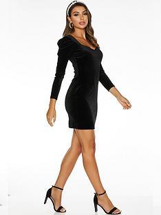quiz-sam-faiers-puff-sleeve-velvet-long-sleeve-bodycon-dress-black