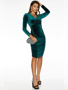 quiz-sam-faiers-long-sleeve-wrap-front-ruched-skirt-midi-dress-emerald