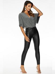 quiz-quiz-x-sam-faiers-batwing-wrap-bodysuit-silver-black