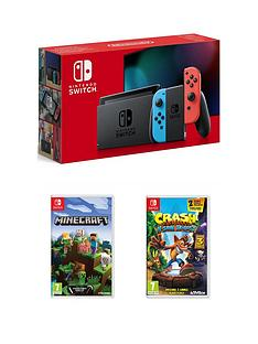 nintendo-switch-nintendo-switch-neon-console-improved-battery-with-crash-bandicoot-nsane-trilogy-and-minecraft
