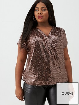 v-by-very-curve-sequin-wrap-front-top-bronze