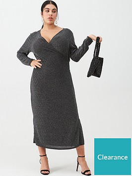 v-by-very-curve-metallic-midi-wrap-dress-silver-black