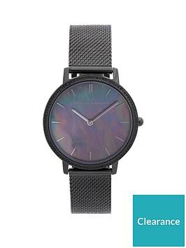 rebecca-minkoff-rebecca-minkoff-black-sunray-dial-black-stainless-steel-mesh-strap-ladies-watch