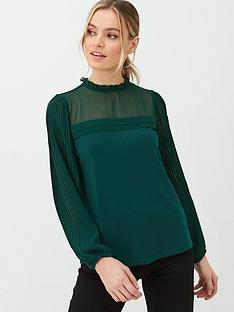 oasis-pleat-sleeve-plain-blouse-deep-green