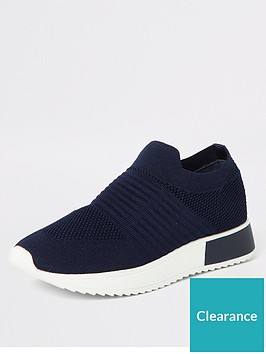 river-island-knit-trainer-navy