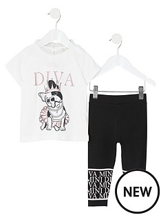 river-island-mini-mini-girls-diva-t-shirt-and-legging-set--blackwhite