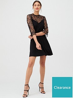 oasis-metallic-lace-flute-sleeve-skater-dress-black