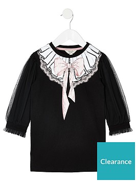 river-island-mini-mini-girls-mesh-sleeve-t-shirt-dress-black