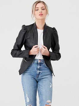 river-island-river-island-faux-leather-puff-sleeve-jacket-black