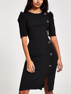 river-island-river-island-button-detail-puff-sleeve-dress-black
