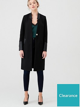 river-island-river-island-collarless-pu-blocked-coat-black