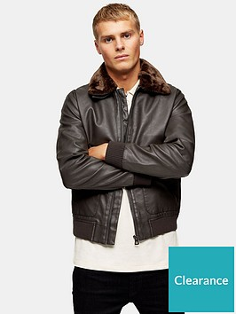 topman-topman-faux-leather-fur-collar-flight-jacket