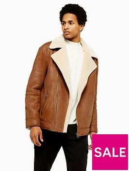 topman-malmo-faux-leather-biker-jacket-tan