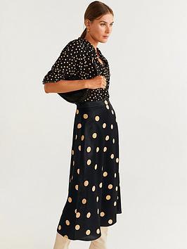 mango-polka-dot-midi-skirt-black