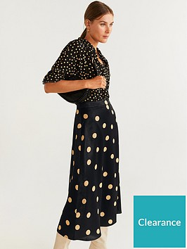 mango-polka-dot-midi-skirt-black