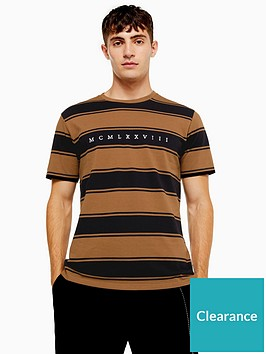 topman-pique-stripe-t-shirt-brown