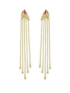 sara-miller-sara-miller-18ct-gold-plated-and-pink-enamel-leaf-trailing-drop-earrings