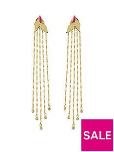 sara-miller-sara-miller-18ct-gold-plated-and-pink-enamel-leaf-trailing-drop-earrings