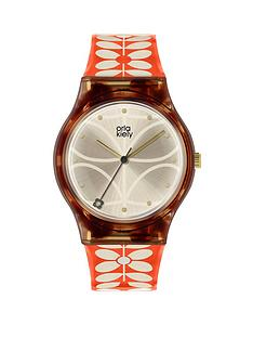 orla-kiely-orla-kiely-bobby-champagne-and-tortoise-shell-dial-red-and-white-stem-print-strap-ladies-watch