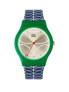 orla-kiely-orla-kiely-bobby-champagne-and-green-dial-blue-and-white-stem-price-strap-ladies-watch