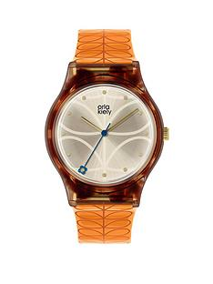 orla-kiely-orla-kiely-bobby-champagne-and-tortoise-shell-dial-orange-stem-print-strap-ladies-watch
