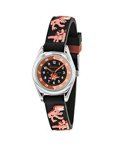 tikkers-tikkers-black-and-orange-dial-black-dinosaur-print-strap-kids-watch