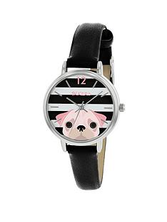 tikkers-tikkers-black-and-white-stripe-pug-dial-black-leather-strap-kids-watch
