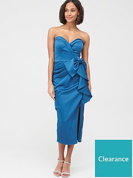 v-by-very-bow-front-satin-pencil-midi-dress-teal