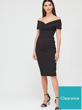 v-by-very-ruched-front-pencil-dress-black