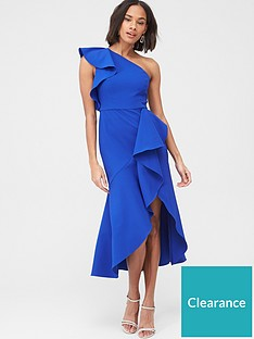 v-by-very-ruffle-front-structured-dress-blue