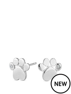 simply-silver-simply-silver-cubic-zirconia-paw-print-stud