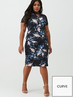v-by-very-curve-floral-print-lace-sleeve-dress-blackfloral