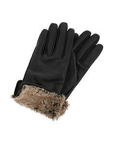 accessorize-faux-fur-trim-leather-glove-black