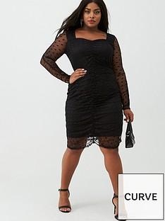 v-by-very-curve-spot-mesh-ruched-pencil-dress-black