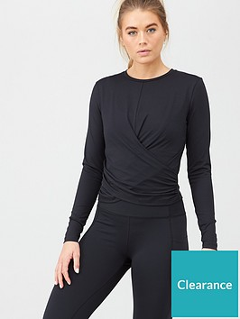 v-by-very-activewear-wrap-detail-ballet-top-black