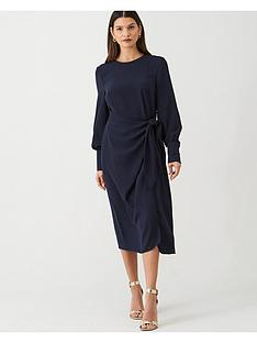 v-by-very-tie-front-midi-dress-navy