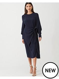 v-by-very-tie-front-midi-dress-navy