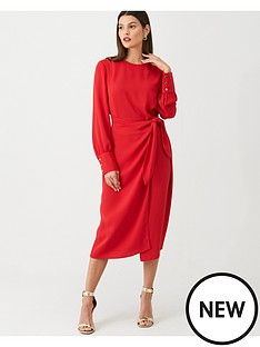 v-by-very-tie-front-midi-dress-red
