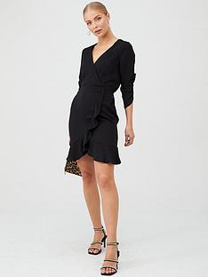 v-by-very-ruched-sleeve-wrap-mini-dress-black