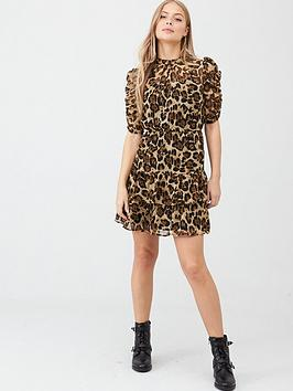 v-by-very-ruched-sleeve-tea-dress-animal-print
