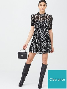 v-by-very-ruched-sleeve-tea-dress-mono-print