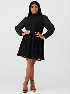 oasis-curve-chiffon-sleeve-lace-dress-black