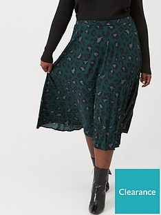 oasis-curve-animal-pleated-skirt-deep-green