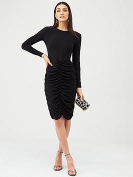 v-by-very-ruched-panels-midi-dress-black
