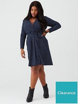 junarose-curve-spot-print-wrap-dress-navy