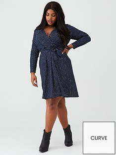 junarose-spot-print-wrap-dress-navy