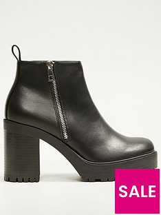 mango-chunky-side-zip-ankle-boots-black