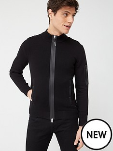replay-zip-thru-knitted-top-with-sleeve-pocket-black