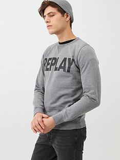 replay-logo-sweatshirt-grey