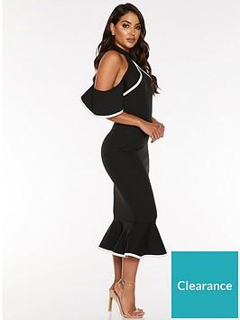 quiz-scuba-crepe-piping-cold-shoulder-frill-midi-dress-black
